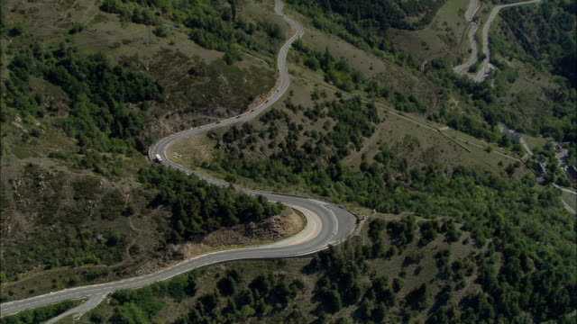 AERIAL, Mountain road in Pyrenees, Languedoc-Roussillon, France