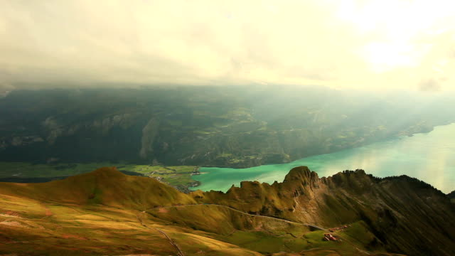 mountain rothorn kulm and brienz lake - lake thun stock videos and b-roll footage