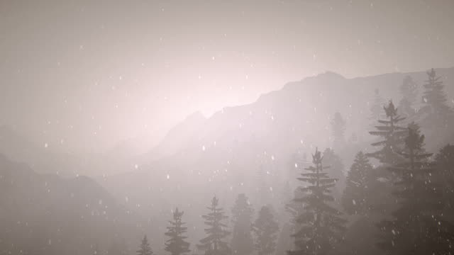 mountain silhouette with snow and fog - digital enhancement stock videos and b-roll footage