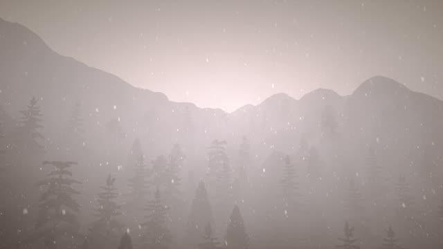 vídeos y material grabado en eventos de stock de silueta de la montaña con nieve y niebla - aumento digital