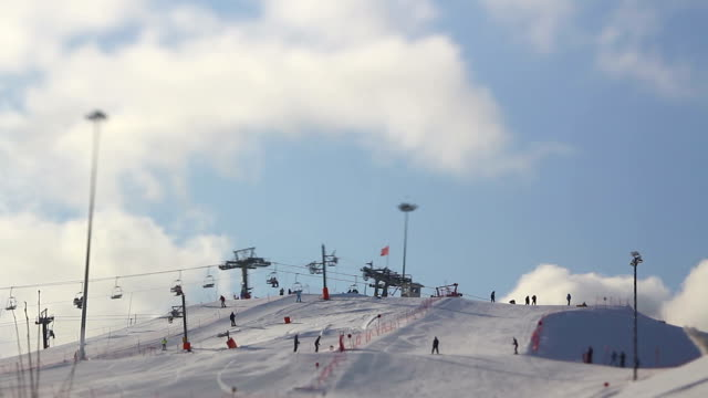 Mountain ski resort, time lapse