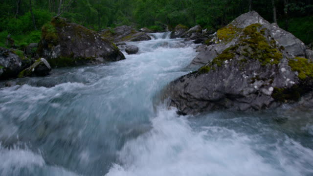 mountain stream among rocks and tress. aerial view - stream stock videos & royalty-free footage