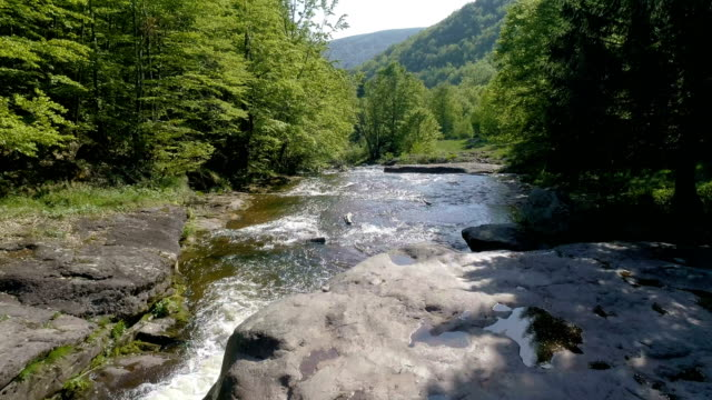 mountain stream among rocks and tress - drone point of view - named wilderness area stock videos & royalty-free footage