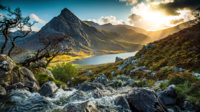 mountain stream at llyn ogwen - wales, uk - dramatic landscape stock videos & royalty-free footage