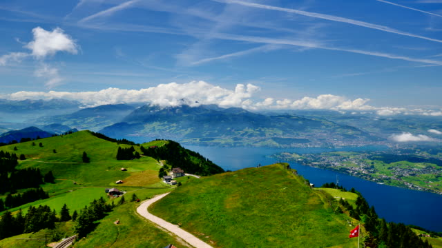 rigi mountain top of lucerne in switzerland - lake lucerne stock videos & royalty-free footage