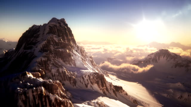 mountain top with mountain climber - twilight stock videos & royalty-free footage
