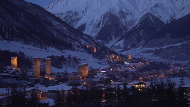 mountain town at night - town stock videos & royalty-free footage