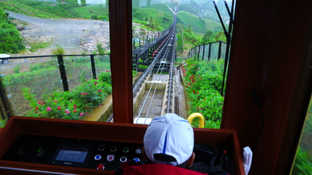mountain train from sa pa to fansipan station, sa pa, lao cai province, northwest vietnam, asia - sa pa stock videos and b-roll footage