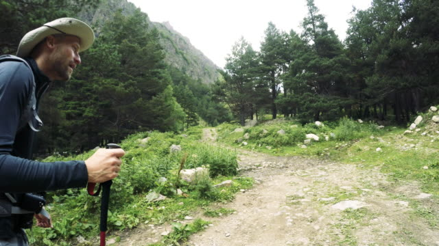mountain trekking. backpackers walking on a caucasian trails - hiking pole stock videos and b-roll footage