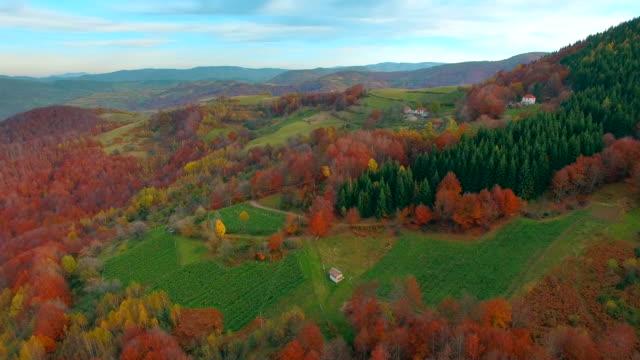 Mountain village aerial view