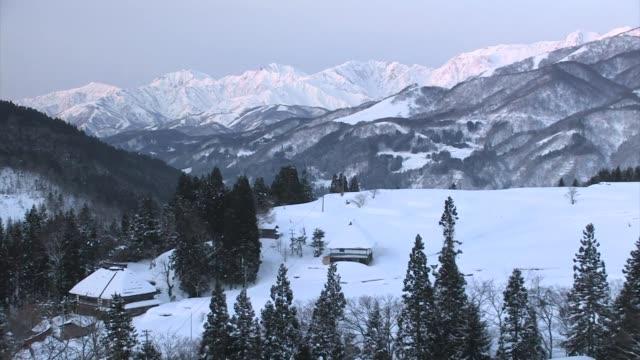 Mountain village at dawn, Japanese Alps, Honshu, Japan
