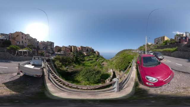 360 VR / Mountain village Corniglia over the mediterranean sea