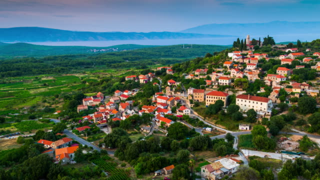 AERIAL: Mountain Village in Croatia, island Hvar