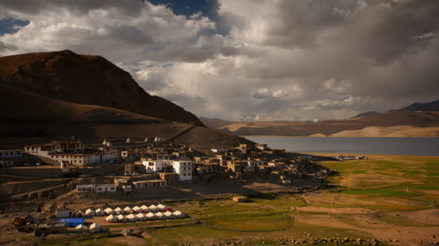 mountain village next to a high altitude pangong tso lake in the himalayas - 1952 stock videos & royalty-free footage