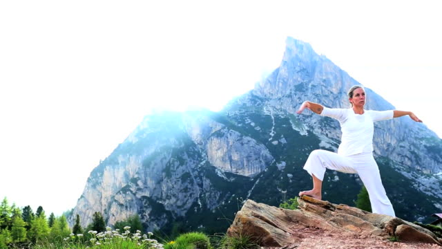 mountain warrior - mountain pose stock videos and b-roll footage
