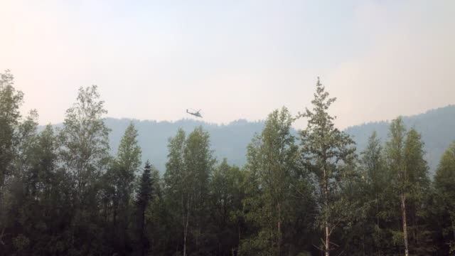 stockvideo's en b-roll-footage met mountain wildfire and helicopter rescue - alaska verenigde staten