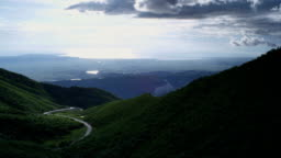Mountain winding road with beautiful sky