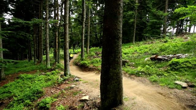 Mountainbikers Riding Downhill