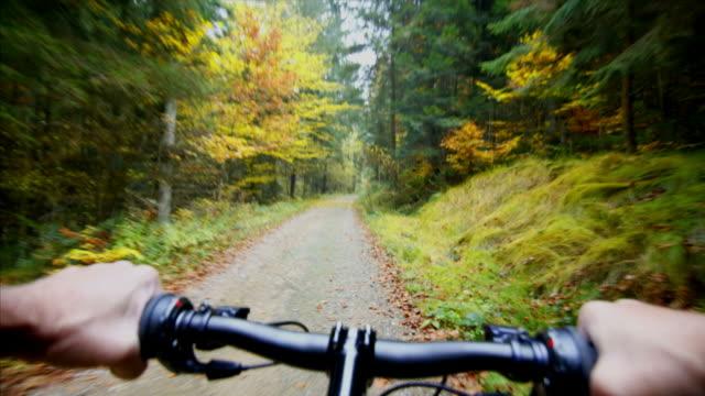 hd マウンテンバイクの pov tl にある秋の森 - クロスカントリーサイクリング点の映像素材/bロール