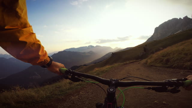 mountainbiking on the dolomites - val di fassa stock videos and b-roll footage