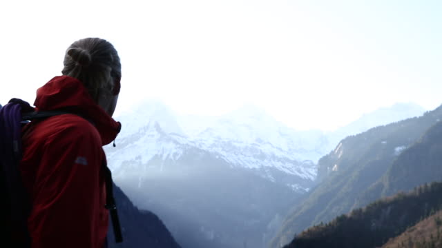mountaineer ascends slope at dawn, looks towards mtns - cappotto invernale video stock e b–roll
