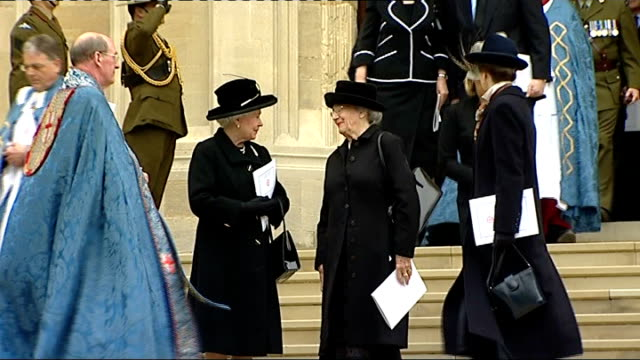 Queen hosts memorial to Sir Edmund Hillary arrivals and departures Queen and Princess Royal towards from Chapel and down steps joined by Lady June...