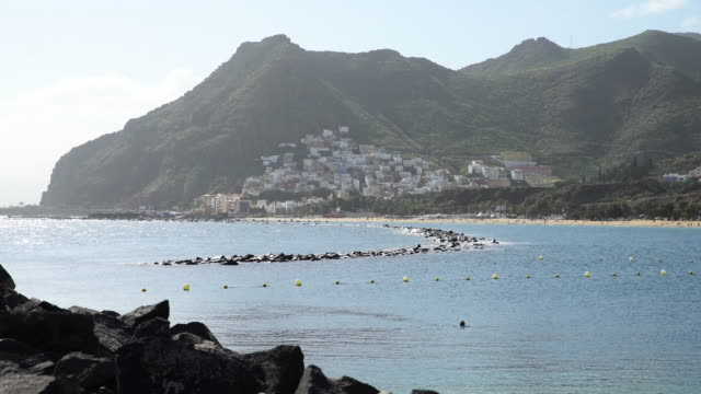 Mountainous coastline of Tenerife. Playa de las Teresitas Santa Cruse