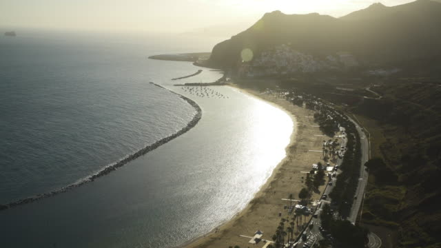 Mountainous coastline of Tenerife. Playa de las Teresitas Santa Cruse from above