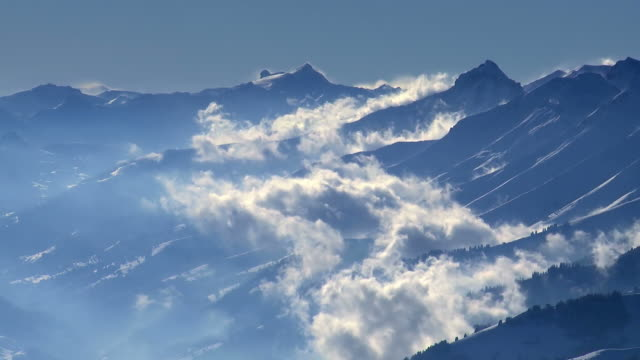 mountains + clouds, winter - mountain range stock videos & royalty-free footage