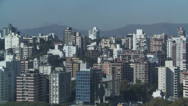 Mountains flank the city of Porto Alegre, Brazil.