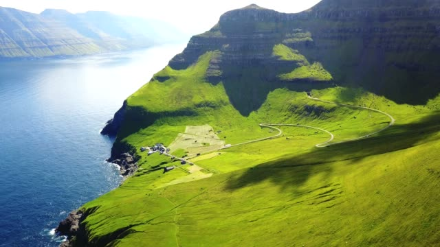 mountains in kalsoy island at faroe - rock face stock videos and b-roll footage