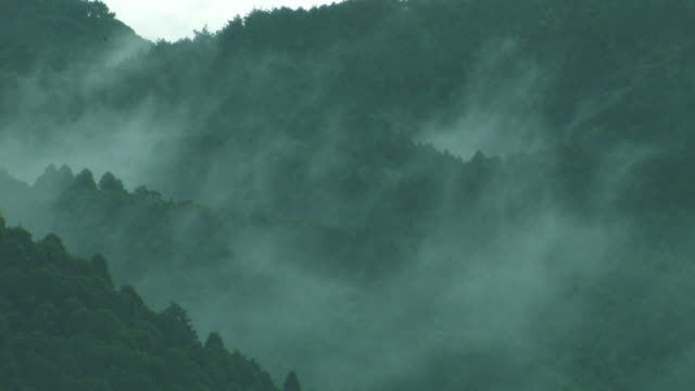 mountains in mist - fukuoka prefecture stock videos & royalty-free footage