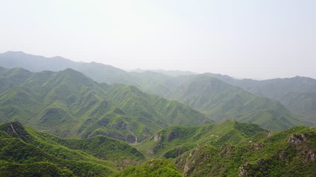 Mountains near Great Wall of China, aerial