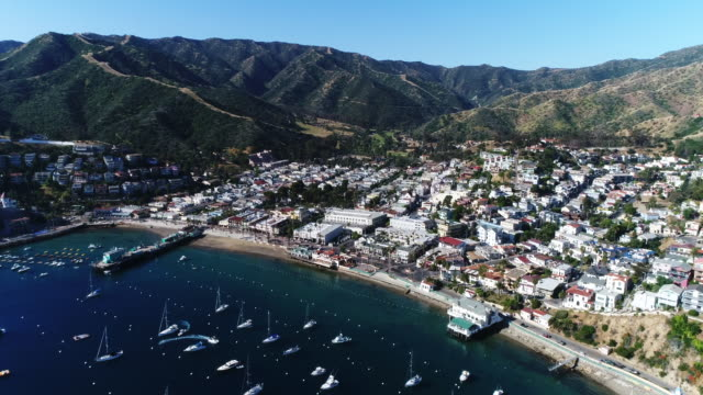 Mountains of Catalina Island over buildings, aerial