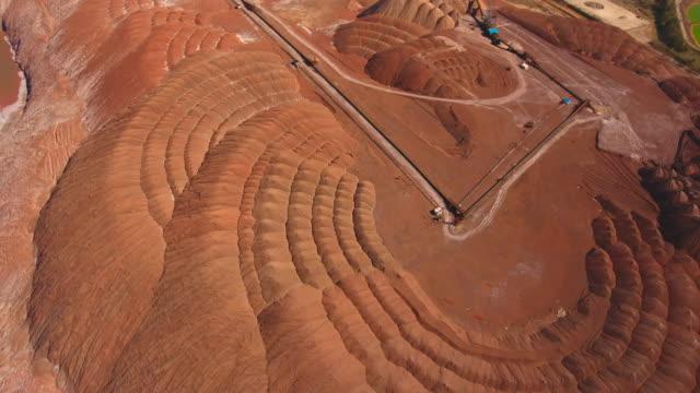 vidéos et rushes de montagnes de sel de potassium. vue aérienne. extraction du sel provenant de la mine. - digging