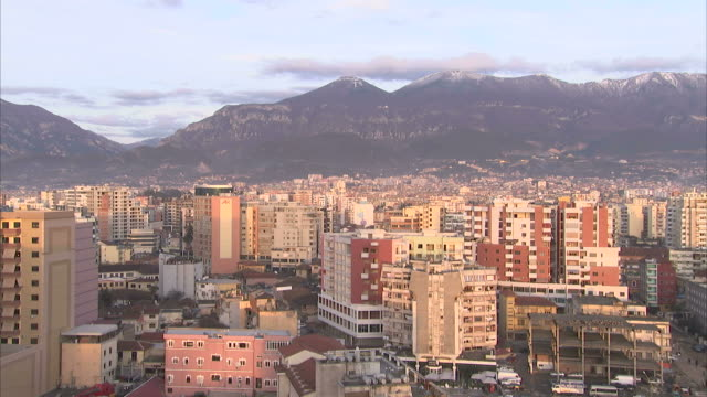 Mountains surround the city of Tirana, Lithuania. Available in HD.