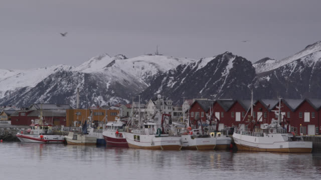 stockvideo's en b-roll-footage met mountains, town and fishing boats, andenes, norway - establishing shot