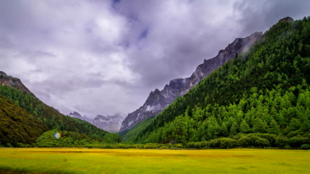 mountains with moving clouds in yanding nature reserve, tibent call this land nyiden, china - meadow stock videos & royalty-free footage