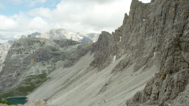 mountainside and mountain lake - tre cimo di lavaredo stock videos & royalty-free footage