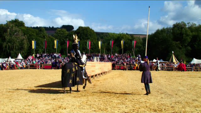 mounted armoured knights jousting - cavalleria video stock e b–roll