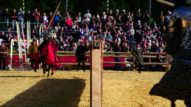 mounted armoured knights jousting - jousting stock videos and b-roll footage