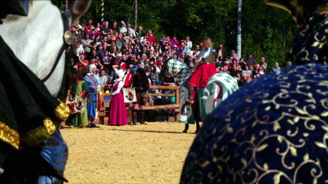 mounted armoured knights on horses at tournament - cavalleria video stock e b–roll