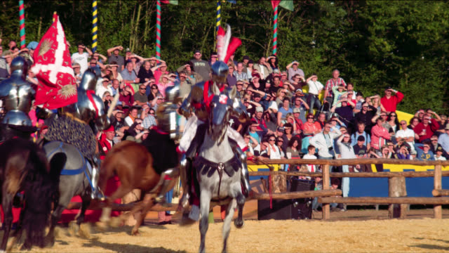 mounted armoured knights on horses sword fighting melee - cavalleria video stock e b–roll
