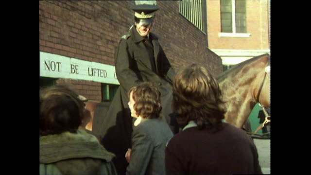 mounted policeman and celtic f.c. fans outside stadium; 1976 - one animal stock videos & royalty-free footage