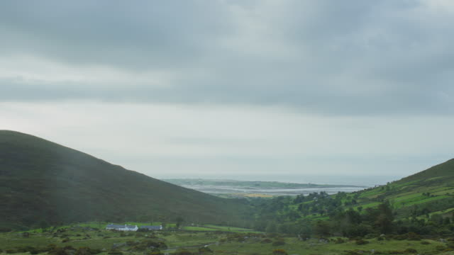 mourne mountain morning, northern ireland - valley stock videos & royalty-free footage