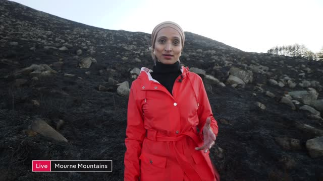 mourne mountains wildfire: significant damage to landscape; northern ireland: county down: mourne mountains: ext live reporter to camera sot /... - mountain range stock videos & royalty-free footage