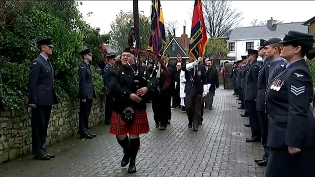 Mourners attend funeral of former Welsh Guardsman after Facebook appeal WALES Glamorgan St Athan St Tathan Church EXT **Bagpipe music heard SOT**...