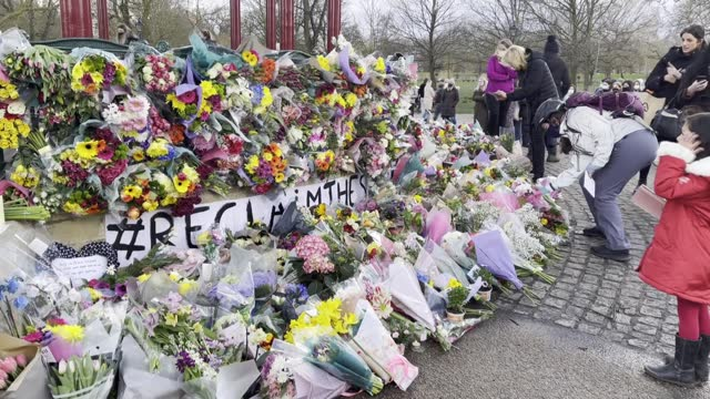 mourners for the life of murdered 33-year-old sarah everard, whose remains were found this week in woodland in kent, lay flowers ahead of an... - reclining stock videos & royalty-free footage