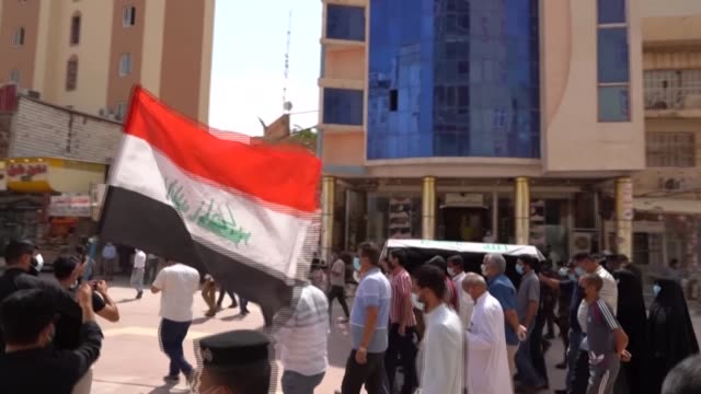 mourners hold a funeral for killed iraqi jihadism expert hisham alhashemi in the shiite shrine city of najaf in central iraq - najaf stock videos & royalty-free footage