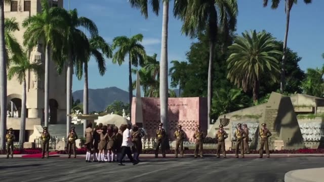 mourners wait to see fidel castro's tomb on sunday after the cuban revolutionary leader's ashes were interred in a private ceremony in santiago de... - santiago de cuba stock videos and b-roll footage